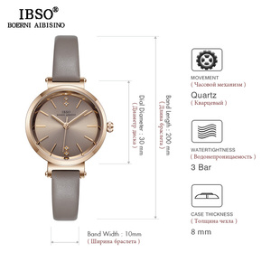 Image 5 - IBSO Women Leather Watch Set Rose Gold  Crystal Bangle Jewelry Watches Xmas Gift Box for Women Jewelry Watch Set