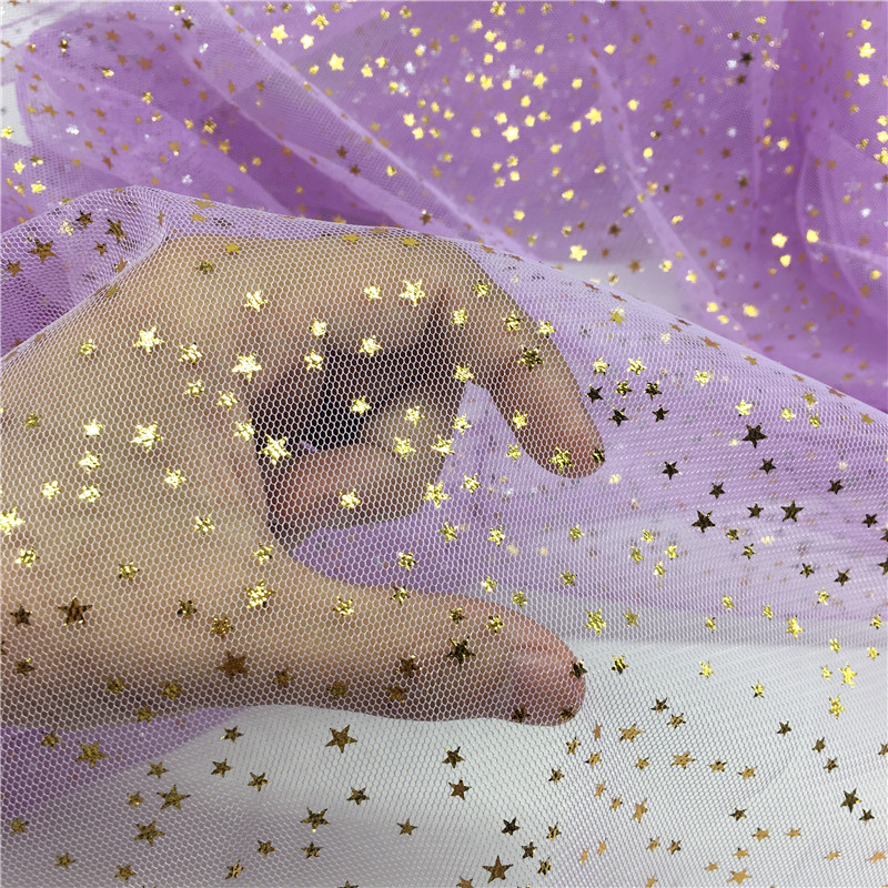 Fashion 150cm 100cm Bling Stars Bronzed Tulle Roll for DIY Fabric Spool Crafts Wedding Decoration Crafts Festive Party Supplies in Fabric from Home Garden