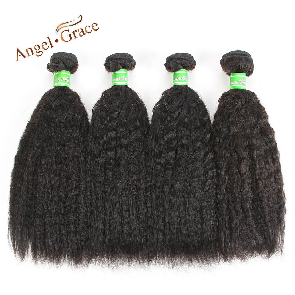 Kinky Straight Hair Brazilian Hair Weave Bundles 4 pcs 100g Coarse Yaki Remy Human Hair  ...