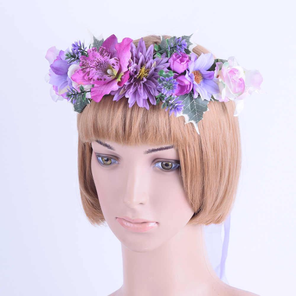 CXADDITIONS розовая ткань венок из полевых цветов тюрбан с элегантным цветком Корона романтическое платье подружки невесты, с цветочным узором, корона в стиле бохо для свадьбы