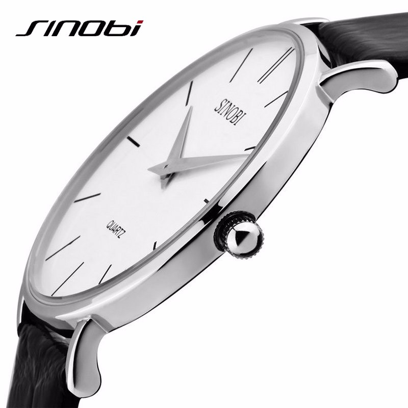 Super Slim Quartz Casual Sport Wristwatch Business Japan SINOBI Brand Leather Analog Best Quartz Watch Men's 2016 relojes hombre mens fashion business watch men ochstin brand genuine leather super slim casual quartz wristwatch relojes hombre