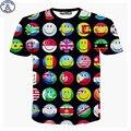 Mr.1991 Europa e América meninas adolescentes t-shirt 2017 estilo o mais novo Da Bandeira 3D Emoji impresso camiseta de manga curta para os meninos DT40