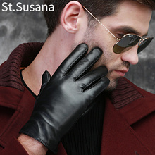 St.Susana 2018 men fashion simple brief England Russian gift show Male sheepskin genuine leather thin short gloves winter