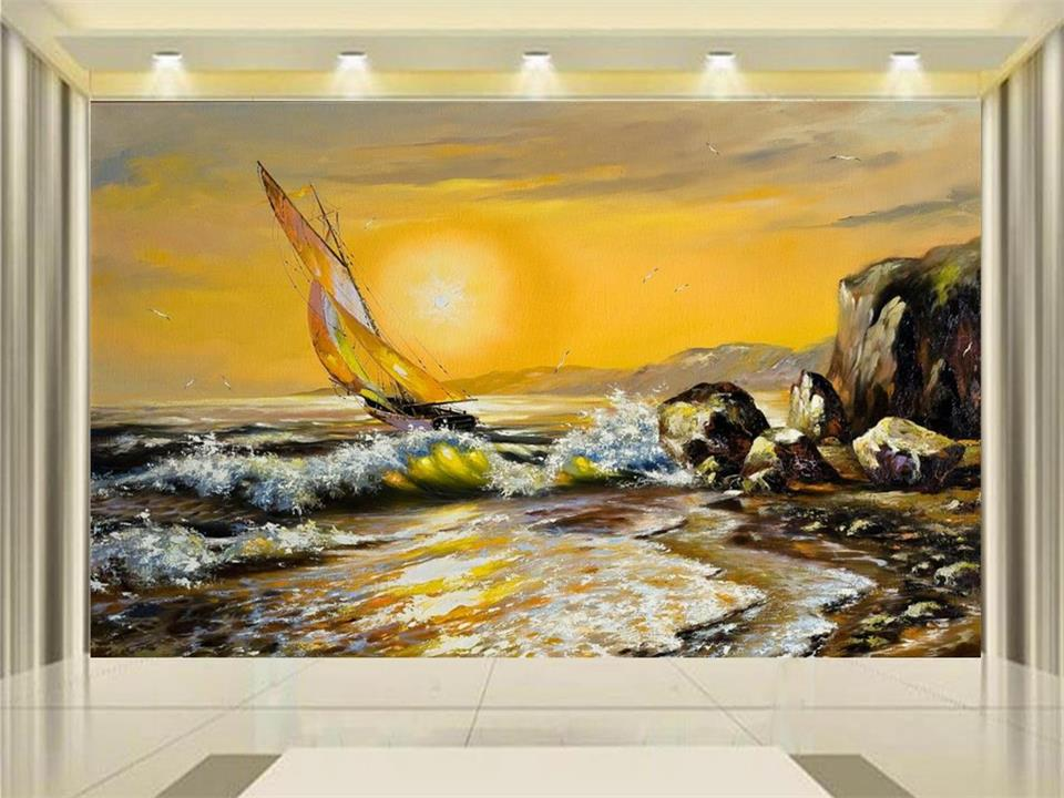 custom 3d photo wallpaper mural living room setting sun ship sail reef 3d oil painting sofa TV background wall non-woven sticker 3d wallpaper custom photo mural living room horse sand sculpture 3d painting tv sofa background non woven wallpaper for walls 3d