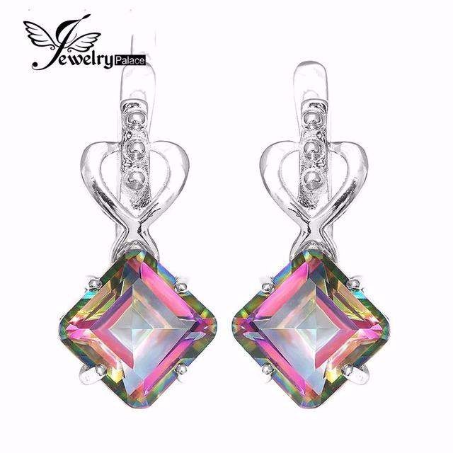 Jewelrypalace 11ct topazs concave praça genuine rainbow fire místico brincos de argola sólida 925 prata esterlina jóias para as mulheres