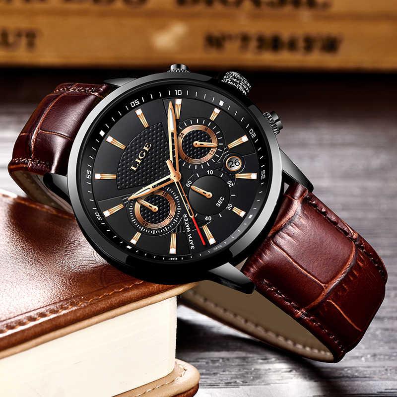 Lige 2020 新メンズ腕時計トップブランドの高級男性ミリタリースポーツ腕時計メンズレザー防水クォーツ腕時計レロジオ masculino