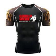 Мужская футболка для бега, бодибилдинг, спортивная одежда, бренд, компрессионный Рашгард, мужские колготки с длинным рукавом, Спортивная майка MMA