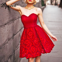 Bqueen New Summer Sexy Strapless Party Dresses For Women Lady Floral Lace Club Runway Bandage Dress
