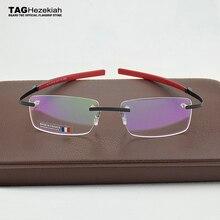 2019 フレームレス眼鏡ブランドタグ Hezekiah 近視メガネフレーム男と女 TH0341 メガネ oculos デ grau 眼鏡