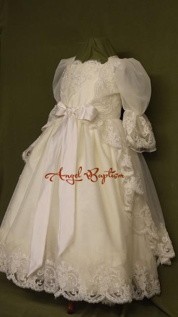 Medias mangas de encaje muchachas de los bebés del vestido blanco / de marfil bautismo del vestido vestido largo de bautizo con capó