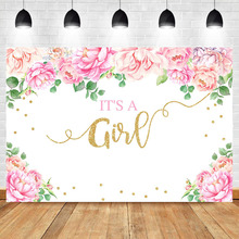 NeoBack Its a Girl Baby Shower Photography Backdrops Pink Flower Newborn Party Banner Dessert Table Decorate Props