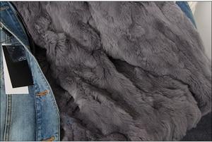 Image 4 - OFTBUY 2020 Winter Jacket Women Real Fur Coat Parka Real raccoon collar Rex Rabbit liner bomber Denim jacket Streetwear fashion