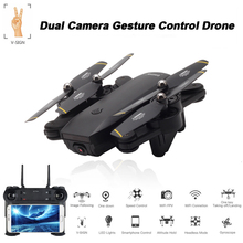 Teeggi SG701 Foldable RC Drone with Dual Camera 720P WiFi FPV Gesture Control Altitude Hold RC Selife Drone VS XS809S SG700