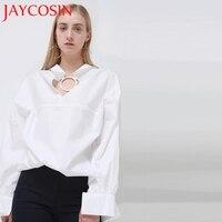 JAYCOSIN 2018 Kobiet Tkaniny Biały O Neck Top Koszula Panie Elegancka Odzież Top Ubrania damskie Koszule Koszula Drop Shipping 121