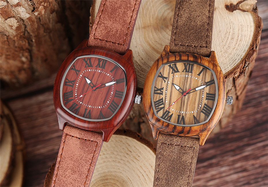 YISUYA Bamboo Wooden Watch Men Quartz Leather Band Analog Creative Watches Roman Numerals Dial Unqiue Shape Fashion Clock Gift (11)