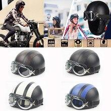 Casco de cuero para motocicleta para hombre y mujer, gafas con cara abierta, medio Retro, para Motocross, Scooter, ciclismo