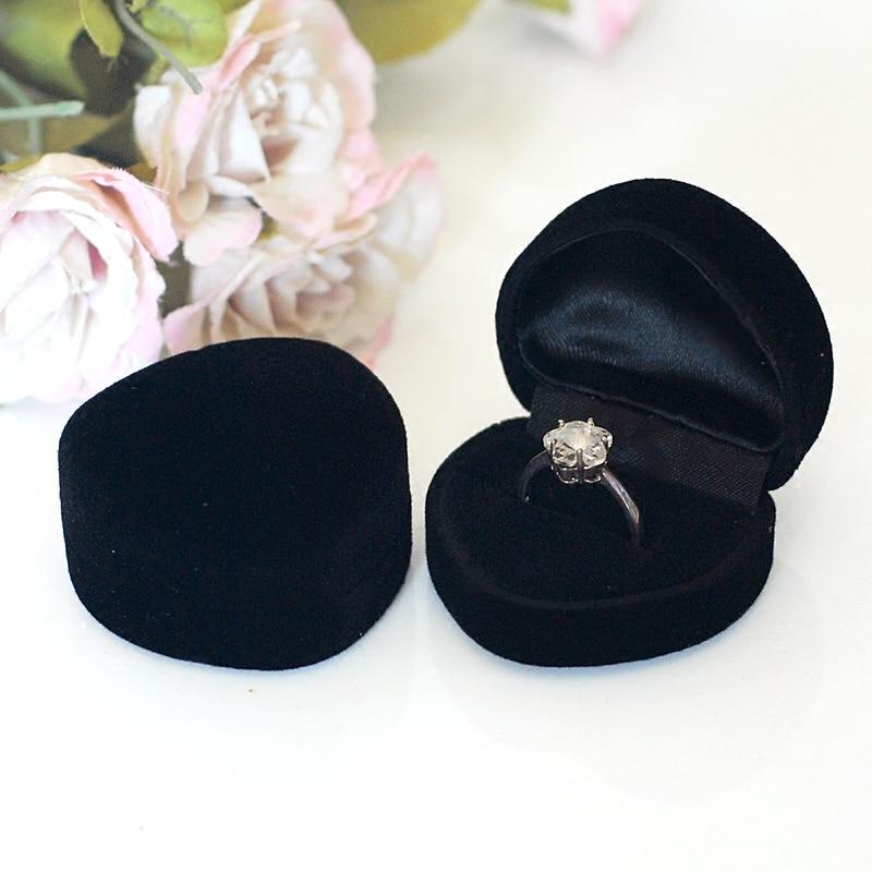 48pcs lot Romantic Wedding Ring Box Black Velvet Heart Shape Ring Box Jewelry Packaging Display Ring