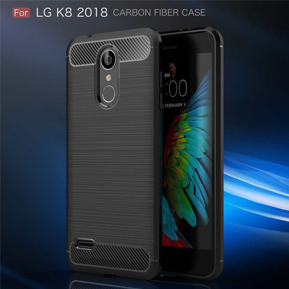 Lenuo Case for LG K8 2018 K9 TPU Soft Carbon Fiber Silicone Brushed Anti-knock phone Back Cover for LG K8 2018