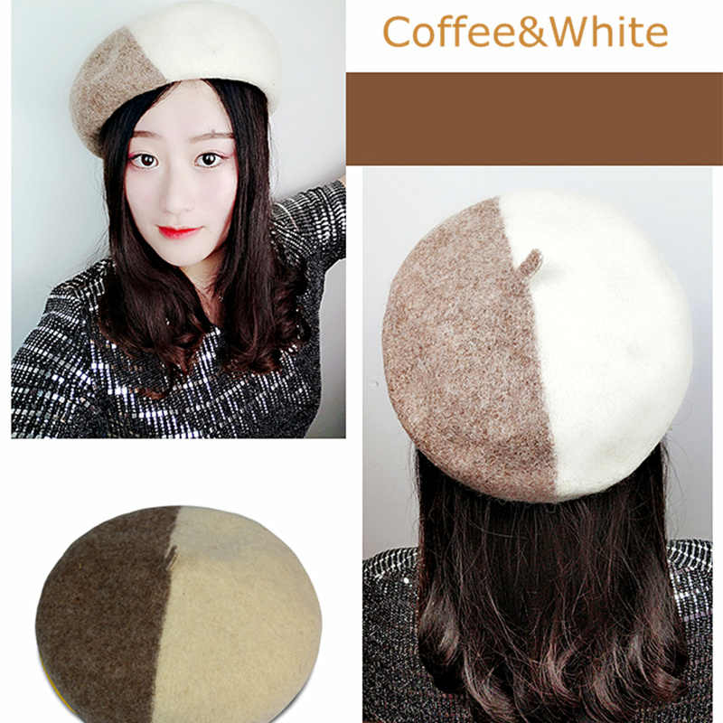 0972a522 ... JXQBSYDK New Winter Beret Hat for Women Wool Angora Beret Beautifully  Decoration Caps Two-color ...