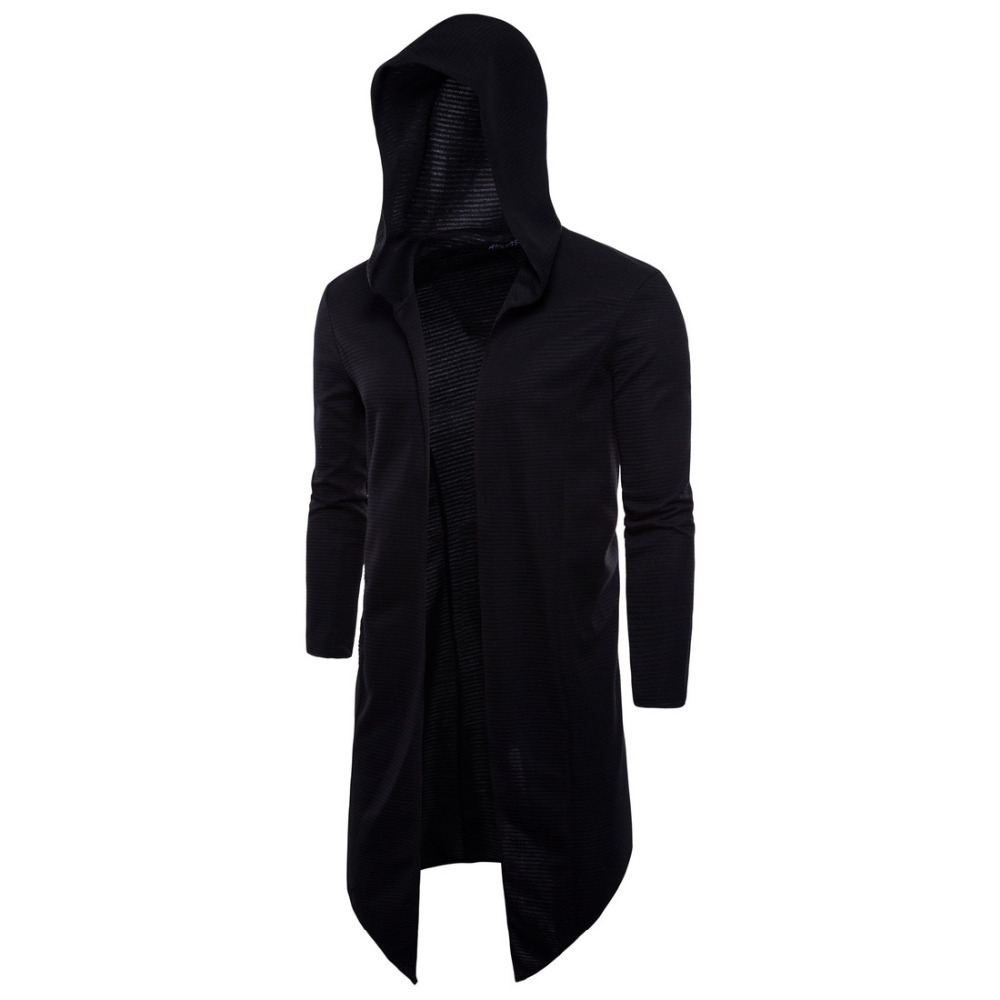 Nopnogn punk hip hop hooded cloak trench coat knitted long jacket mens hiphop gothic