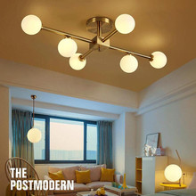 6 Heads Nordic Modern Magic Living Bedroom Ceiling Lamp Simple Glass Lampshade Round Ball Molecule LED Chandelier Lighting