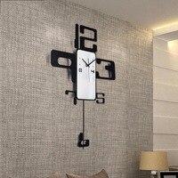 Modern Brief Metal Art Digital Needle Big Clock Office Wall Decoration Crafts for Gifts Auspicious Quartz Sway Wall Watch Clocks