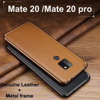Luxury Genuine Leather + Brand Aluminum Metal Bumper For Huawei Mate 20 pro case Metal Frame Leather cover For Huawei Mate 20