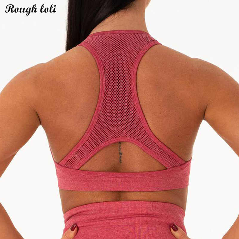 Seamless sports bra women yoga top workout gym crop top push up gym bra high impact padded yoga bras racer back active wear