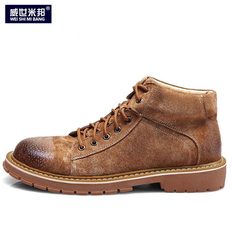 Retro krowa zamszowe skórzane brytyjski styl męskie zasznurować botki buty dla chłopców buty modne buty zimowe w Podstawowe buty od Buty na  Grupa 1