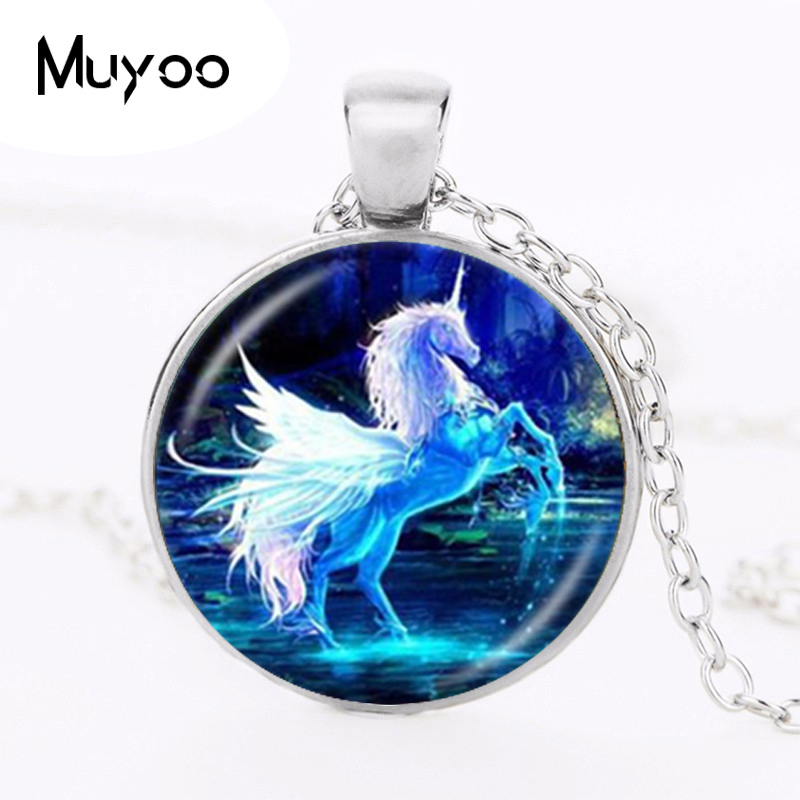 Moonlight Unicorn Photo Necklace Horse with Wings Jewelry Glass Cabochon Pendant Chain Neckless Women Fashion Jewelry HZ1(China)