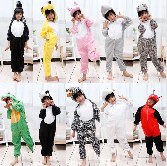 Christmas New Year Animals Cosplay Costumes For Kids Children Girls Boys Pig Cows Dinosaur Tiger Elephant Animals Jumpsuit