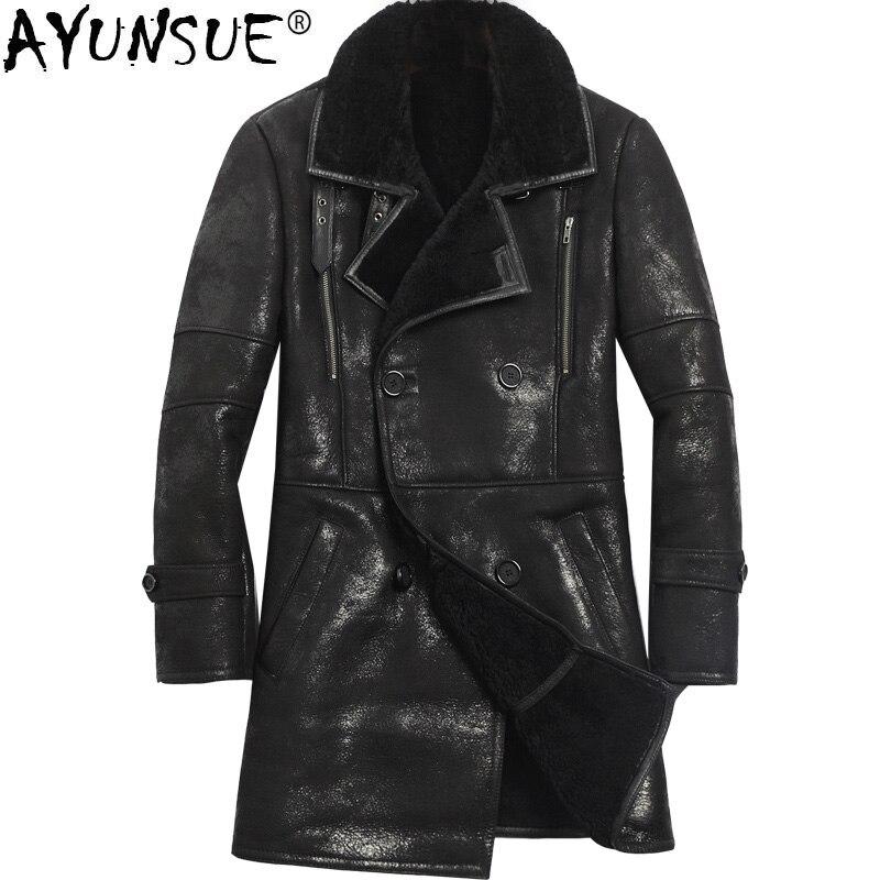 AYUNSUE зимние из натуральной кожи куртка Для мужчин овечья шерсть куртка Для мужчин s дубленка 2018 длинные натуральный мех пальто Винтаж KJ1133