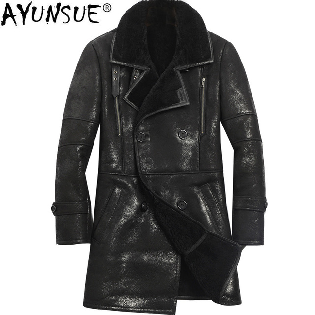 Ayunsue Winter Genuine Leather Jacket Men Sheep Shearling Jacket