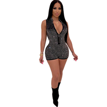 New womens hot drilling jumpsuit night club party tight zipper blue black