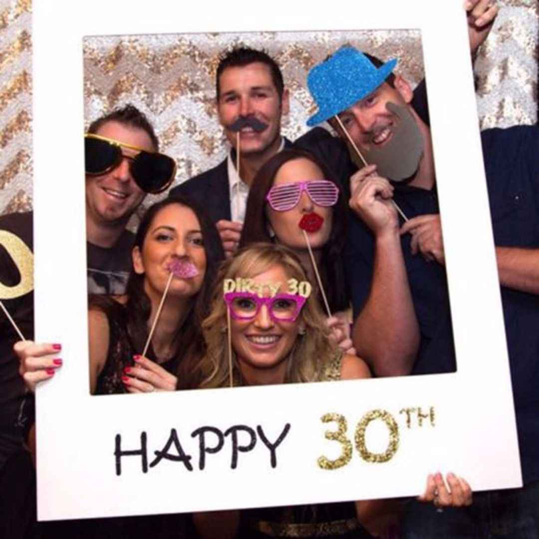 Newest Happy Birthday 30th 40th Photo Booth Props 30 40 50 years Birthday Frame Photo Photobooth Anniversary Party Decorations