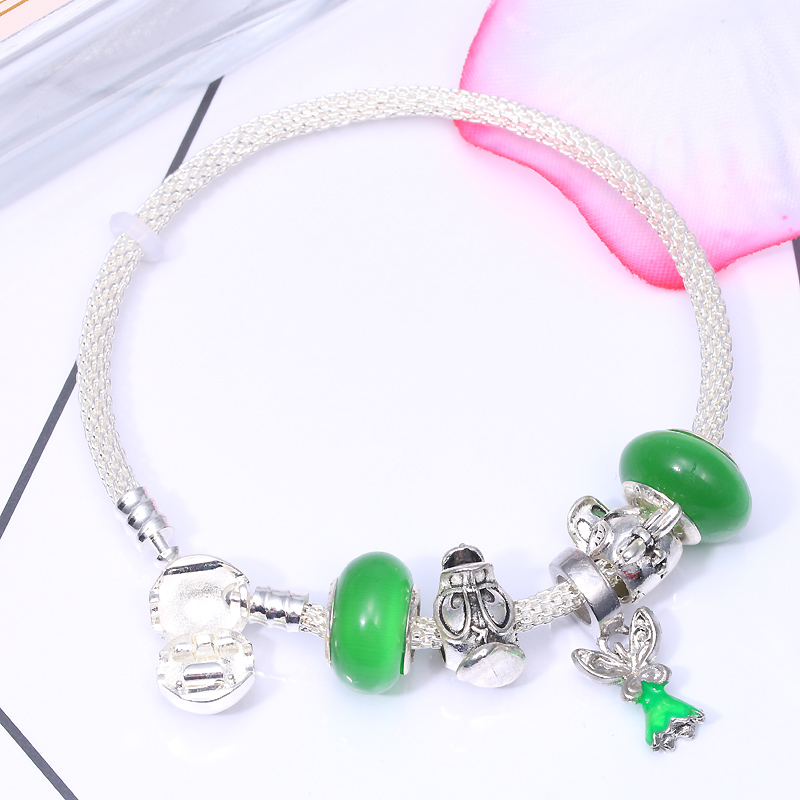 CHIELOYS Cute Cartoon Angel Pendant With Green Murano Glass Beads Charm Bracelet Fit DIY Pandora Bracelet Handmake Jewelry Gift