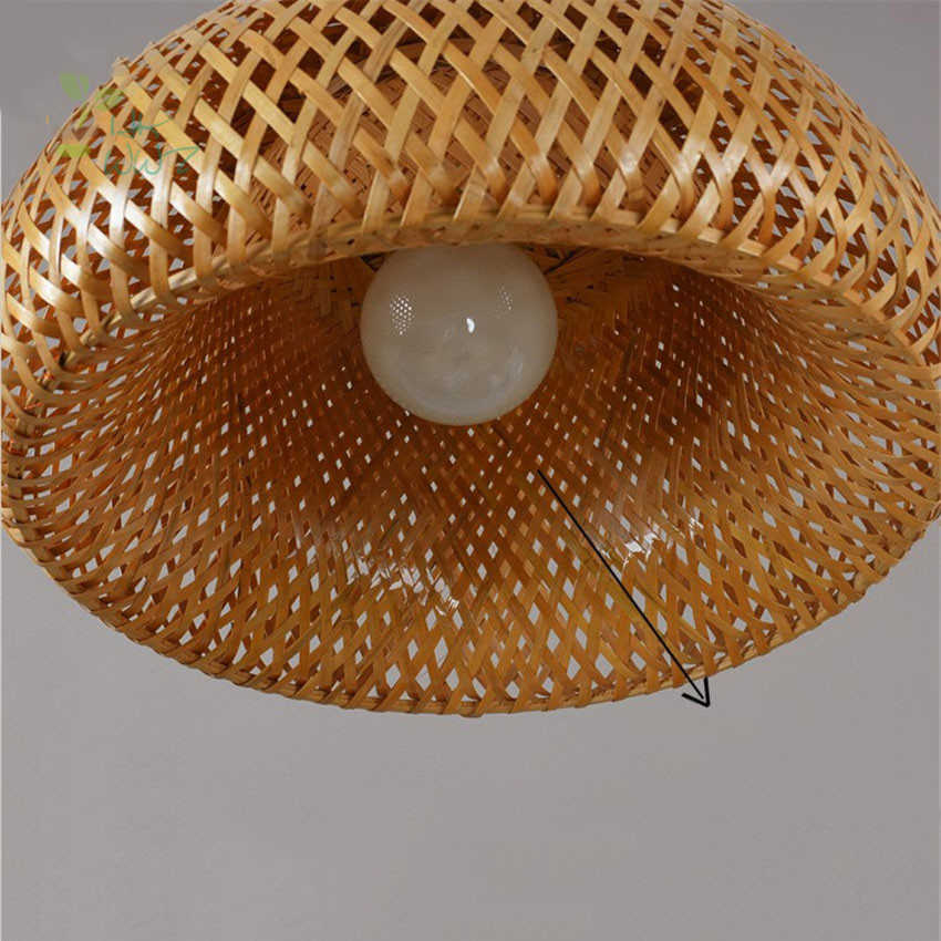 Modern Alam Bambu Pekerjaan Tangan Rajutan Bambu Liontin Lampu Kreatif LED Lampu dengan Bambu Warna untuk Ruang Makan