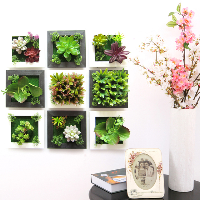 3d plant wall sticker home decor wall artificial flowers for Cadre floral mural