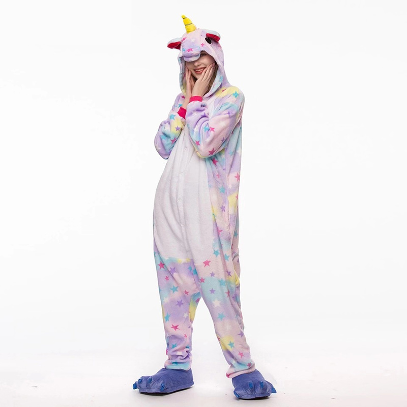 Winter Adults Animal   Pajamas     Sets   Cartoon Sleepwear Unicorn   Pajamas   Stitch Kigurumi Unicornio Women Men Warm Flannel Hooded