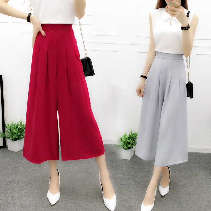 New Arrival Women Pant Slim chiffon Loose High Waist Wide Leg Pants