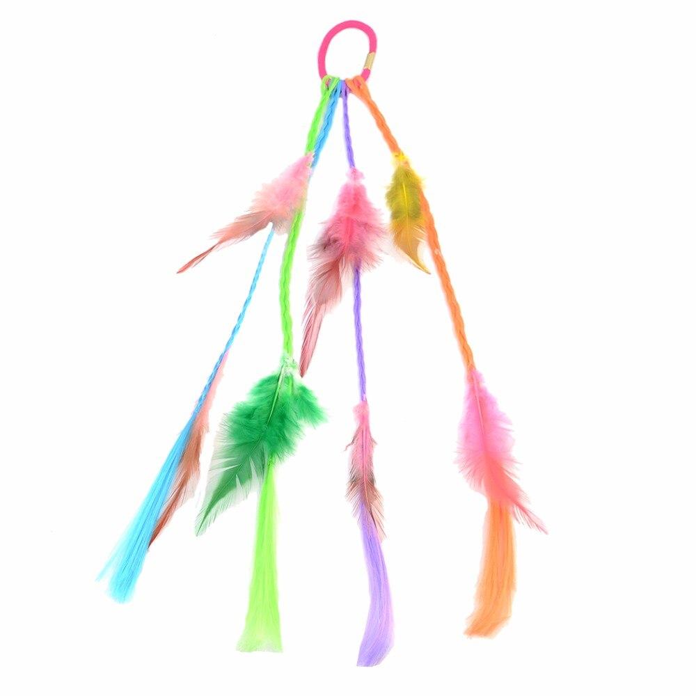 Idealway Boho Indian Colorful Feather Headband Headdress Hair Rope Headwear Tribal Gypsy HippieParty Fashion Accessories