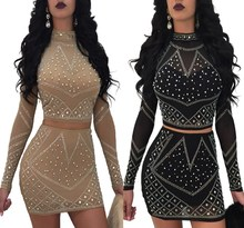 2018 Crystal Pearl Beaded Embellished Skirt Set Women Long Sleeve Party Club Bodycon Dress Suits Rhinestone Two Piece Set все цены