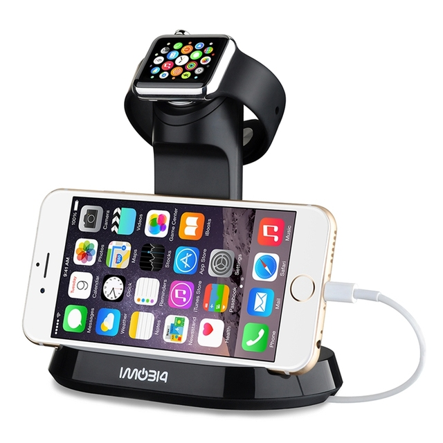 2-in-1 ABS material Charging Stand Holder Dock Bracket Station Cradle for Apple Watch iWatch iPhone Samsung Smartphone