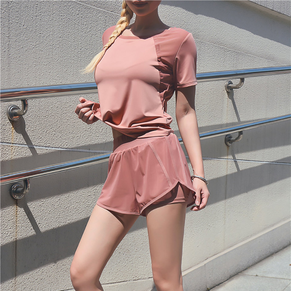 Women's Mesh Yoga Sets Running Tracksuit Fitness Clothing Sportswear Short Sleeve Tops Gym Shorts Breathable Quick Dry Clothes 12