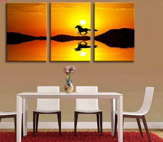 Modular pictures vintage home decor oil painting running horse tableau decoration murale salon interior decoration canvas