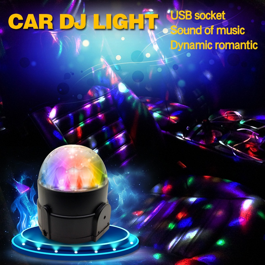 Car-styling DJ light Mini RGB 6W LED MP3 Club Disco Party Crystal Magic Ball Stage Effect Rotating Bulb With USB Interface mini rgb led party disco club dj light crystal magic ball effect stage lighting