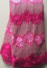 Latest African Embroidered Lace Fabric With Beads