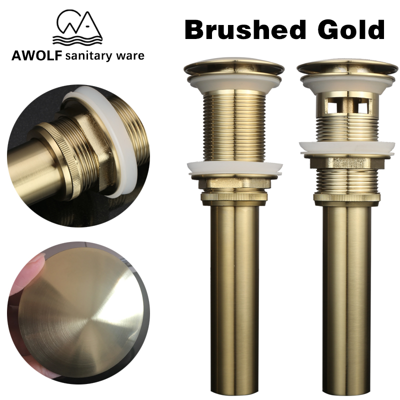 Pop Up Drains For Bathroom Basin Vessel Sinks Brushed Gold Solid Brass Bouncing Waste Drain With & Without Overflow Hole AH6160