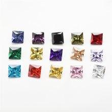 CZ 1pc Per 15 colori dimensioni 4x4 ~ 10x10mm pietra quadrata sintetica di Zirconia cubica di forma quadrata