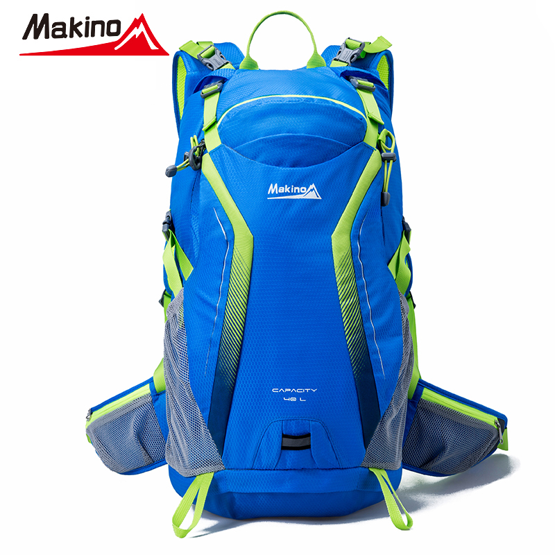ФОТО Makino Lover's Hiking Bags Nylon Waterproof Blue Backpack Travel Outdoor Knapsack Multi-purpose Luxury Brand Women Sport Bag 40L